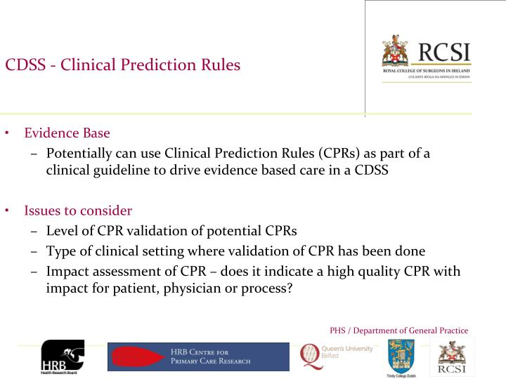 CDSS - Clinical Prediction Rules