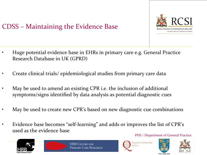 CDSS – Maintaining the Evidence Base