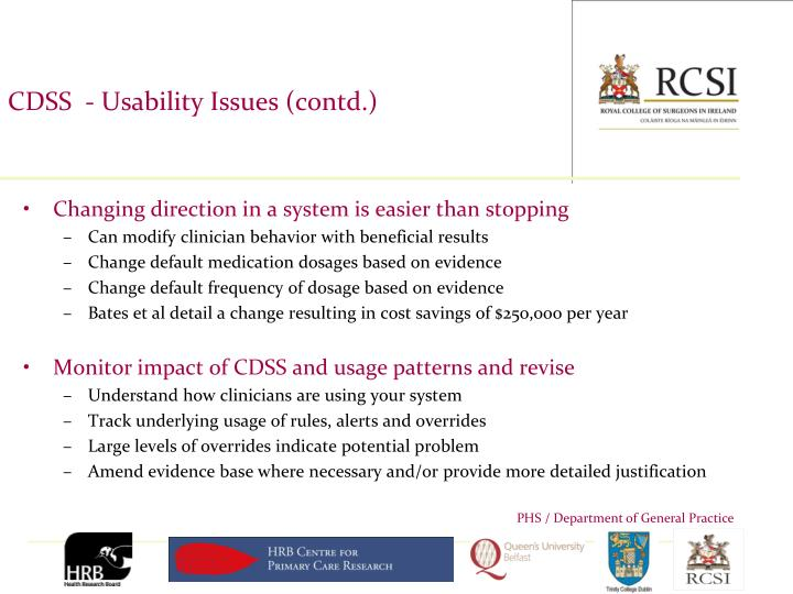 CDSS  - Usability Issues (contd.)