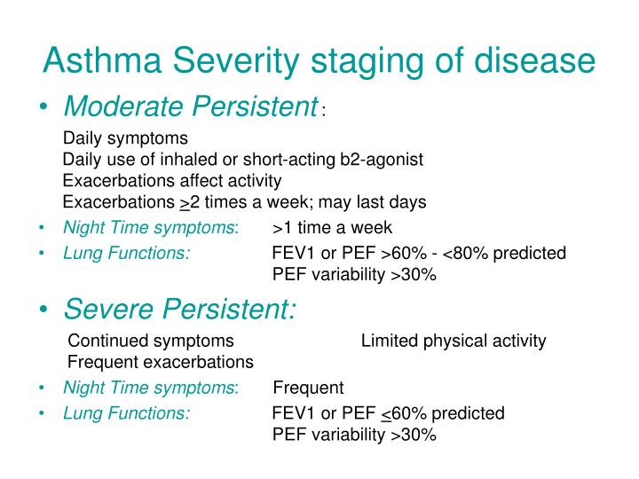 Asthma Severity staging of disease
