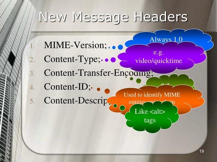 New Message Headers