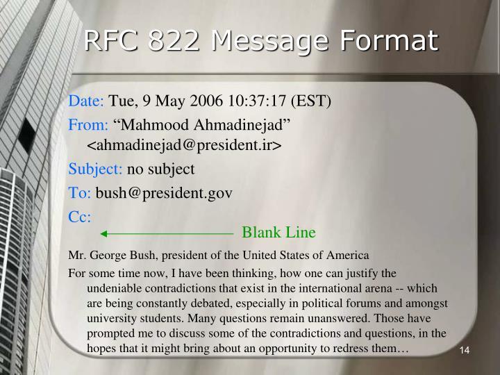 RFC 822 Message Format