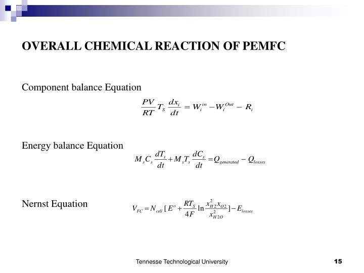 OVERALL CHEMICAL REACTION OF PEMFC