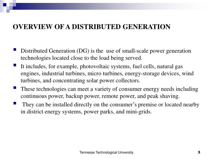 Overview of a distributed generation