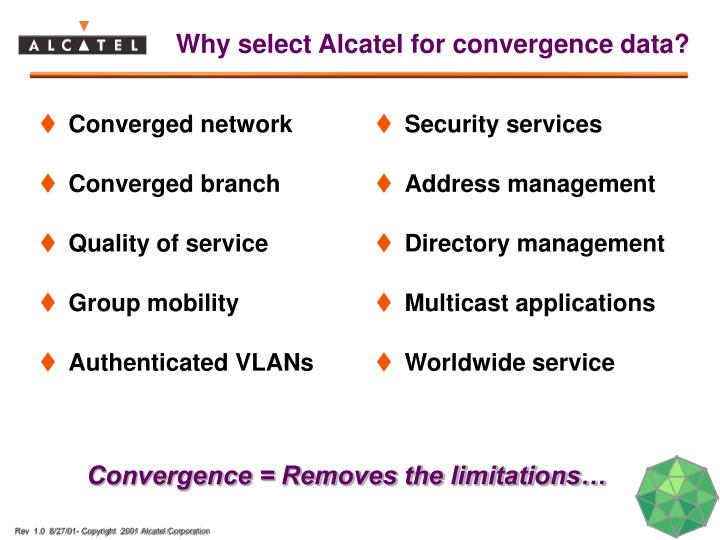 Why select Alcatel for convergence data?
