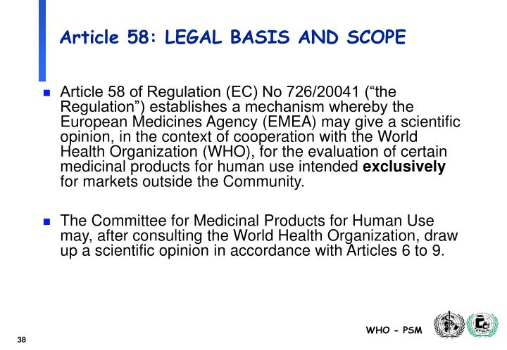 Article 58: LEGAL BASIS AND SCOPE