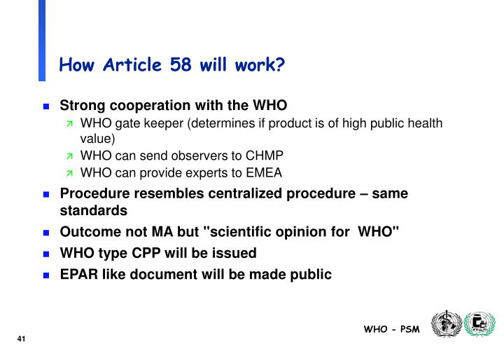How Article 58 will work?