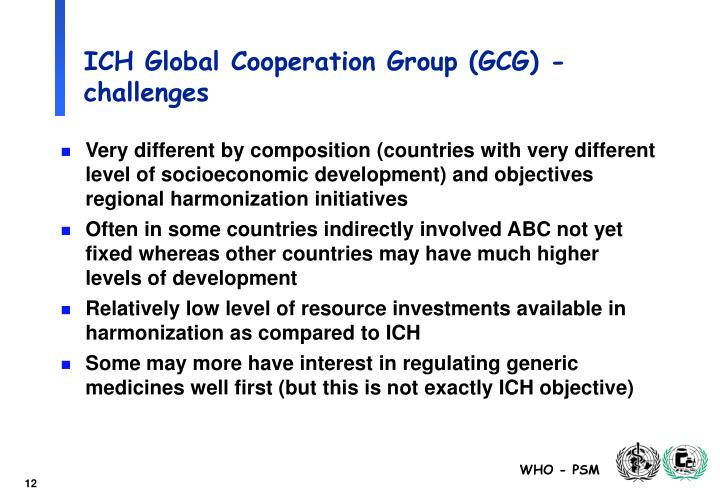 ICH Global Cooperation Group (GCG) - challenges