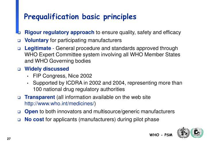 Prequalification basic principles