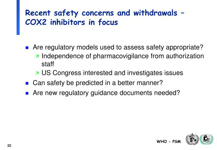 Recent safety concerns and withdrawals – COX2 inhibitors in focus