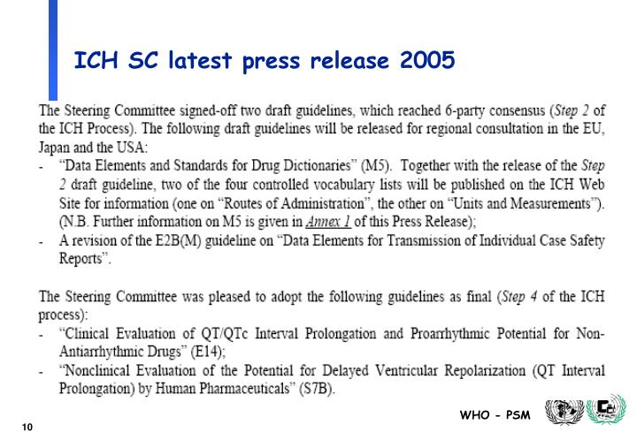 ICH SC latest press release 2005