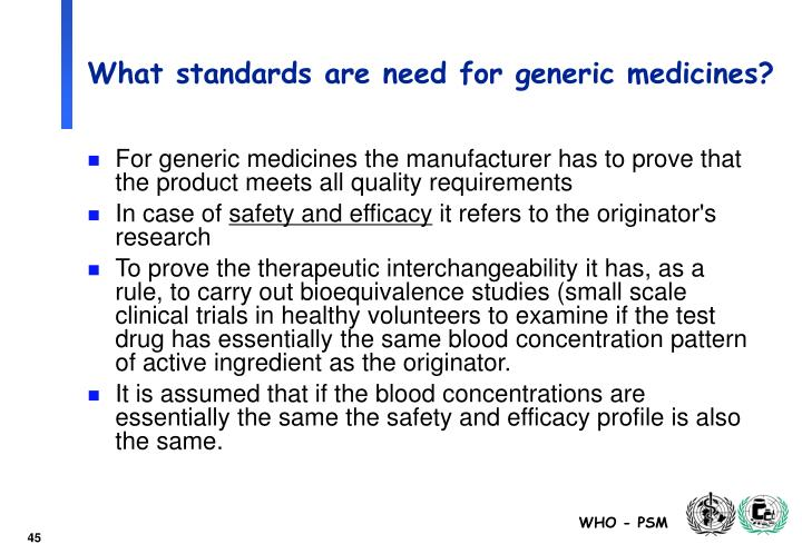 What standards are need for generic medicines?