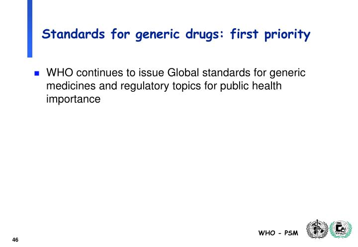Standards for generic drugs: first priority