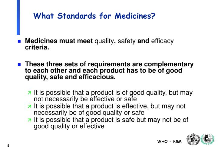 What Standards for Medicines?