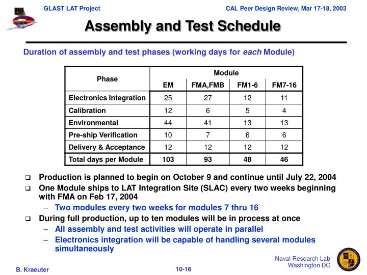 Assembly and Test Schedule