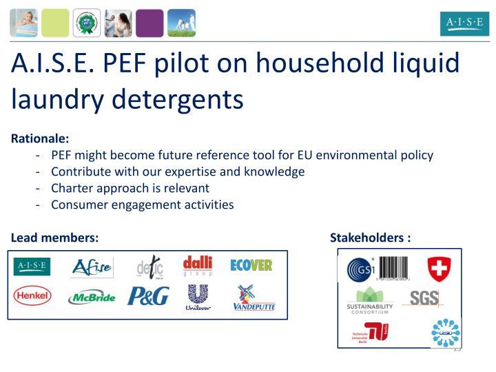 A.I.S.E. PEF pilot on household liquid laundry detergents