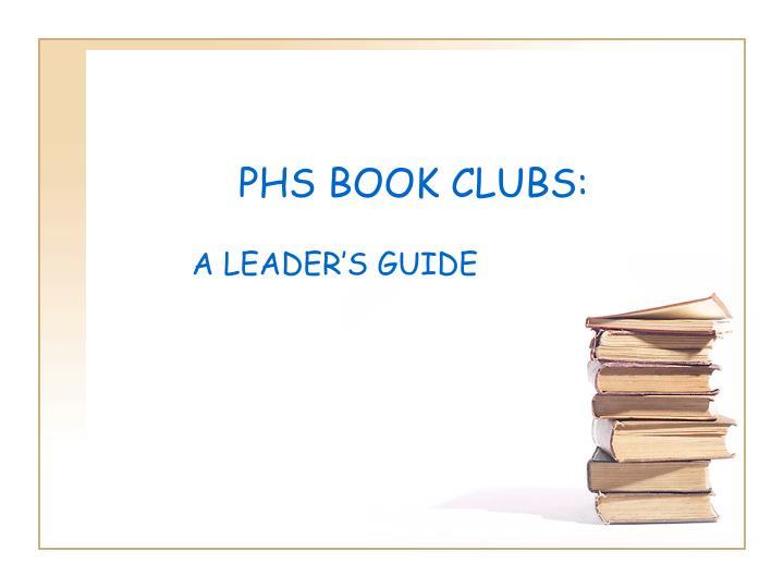 PHS BOOK CLUBS: