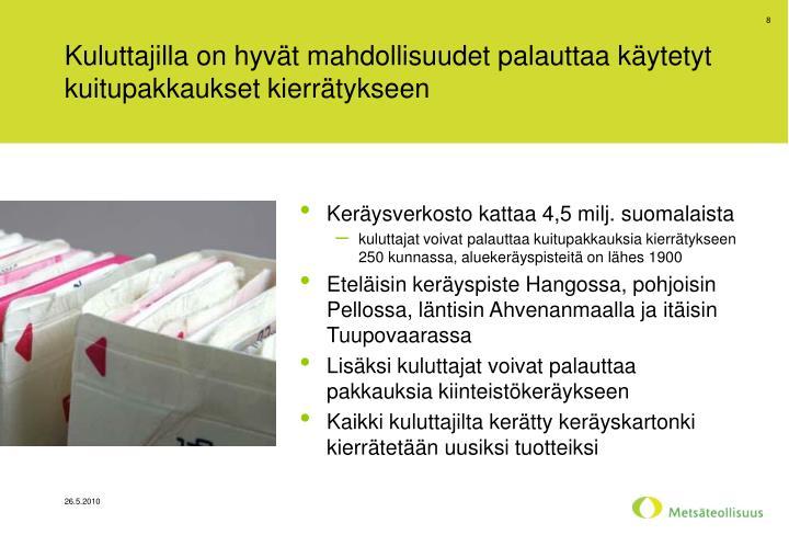 Kuluttajilla on hyvät mahdollisuudet palauttaa käytetyt kuitupakkaukset kierrätykseen