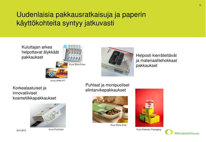 Uudenlaisia pakkausratkaisuja ja paperin käyttökohteita syntyy jatkuvasti