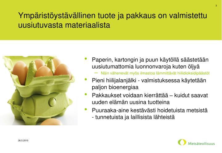 Ympäristöystävällinen tuote ja pakkaus on valmistettu uusiutuvasta materiaalista