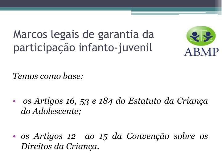 Marcos legais de garantia da participação infanto-juvenil