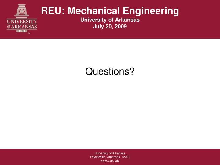 REU: Mechanical Engineering
