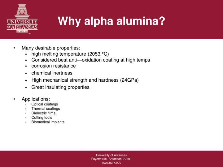 Why alpha alumina?