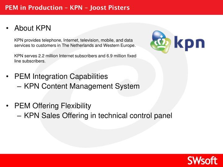 PEM in Production – KPN – Joost Pisters