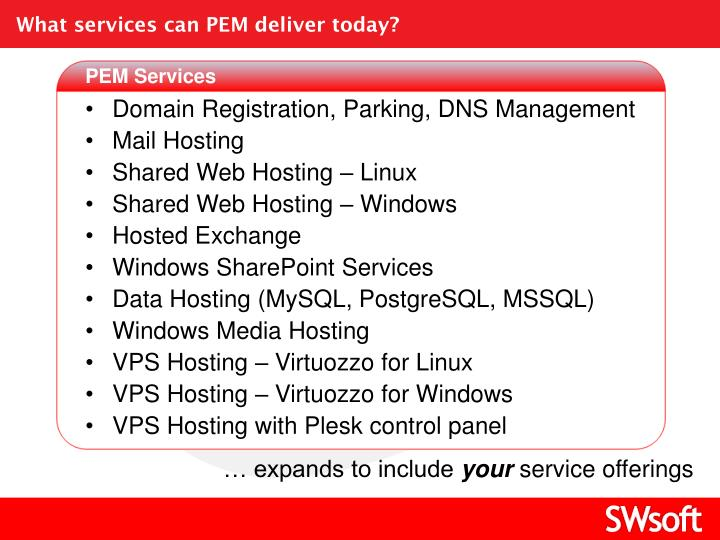 What services can PEM deliver today?