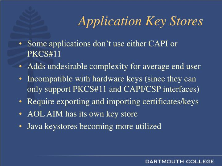 Application Key Stores