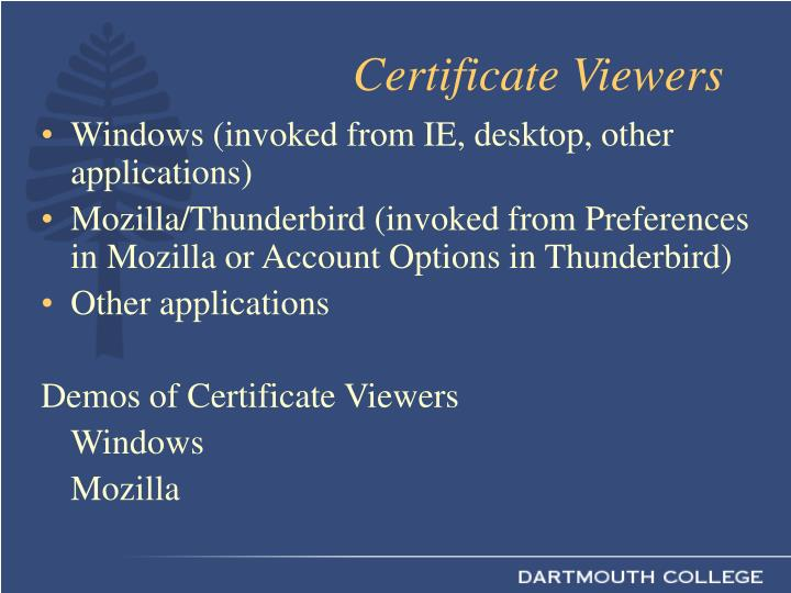 Certificate Viewers