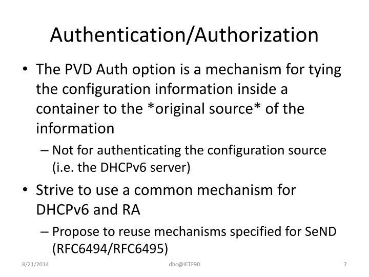Authentication/Authorization