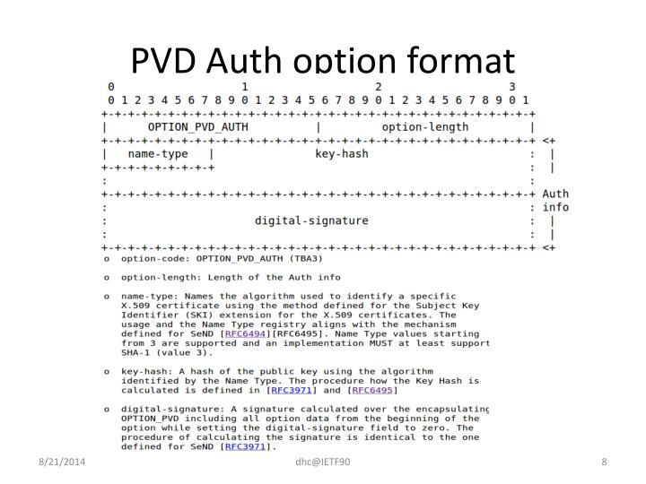 PVD Auth option format