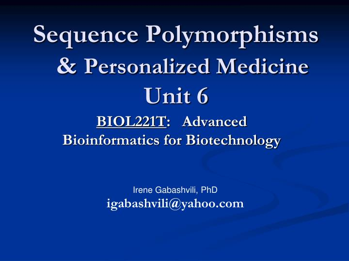 Sequence Polymorphisms