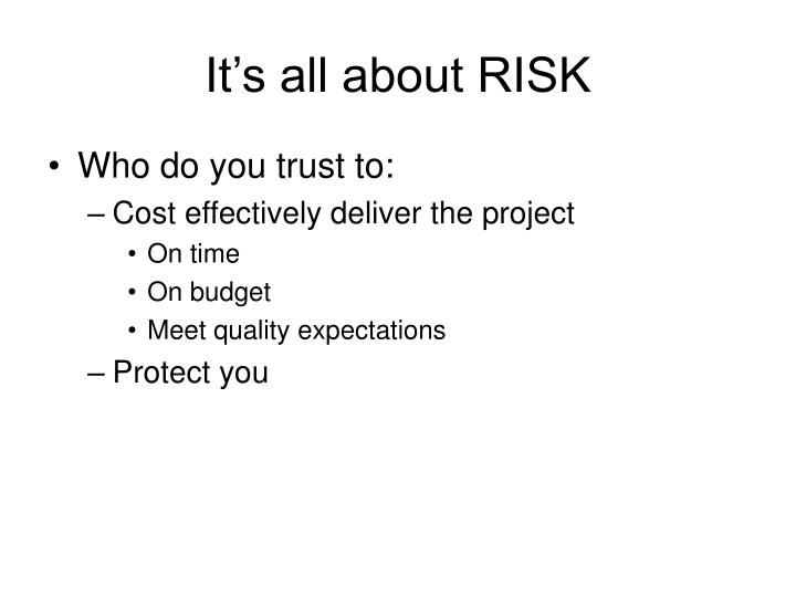 It's all about RISK