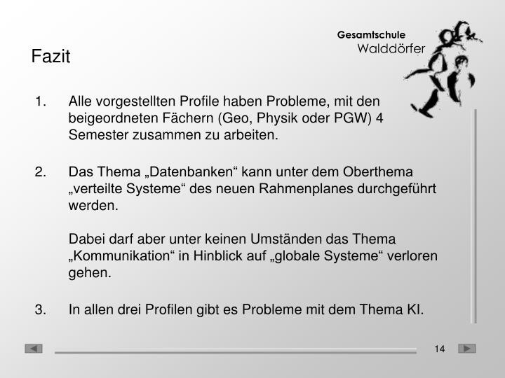 Alle vorgestellten Profile haben Probleme, mit den beigeordneten Fächern (Geo, Physik oder PGW) 4 Semester zusammen zu arbeiten.