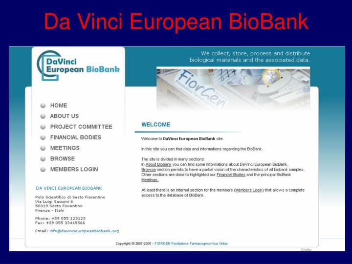 Da Vinci European BioBank