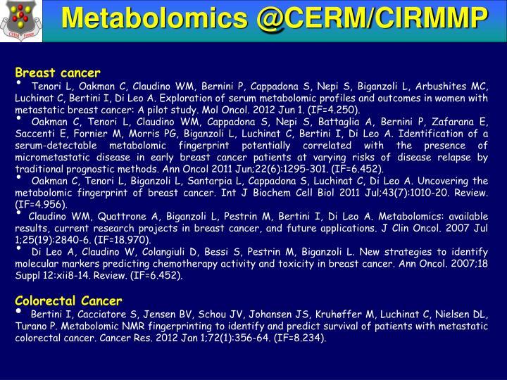 Metabolomics @CERM/CIRMMP
