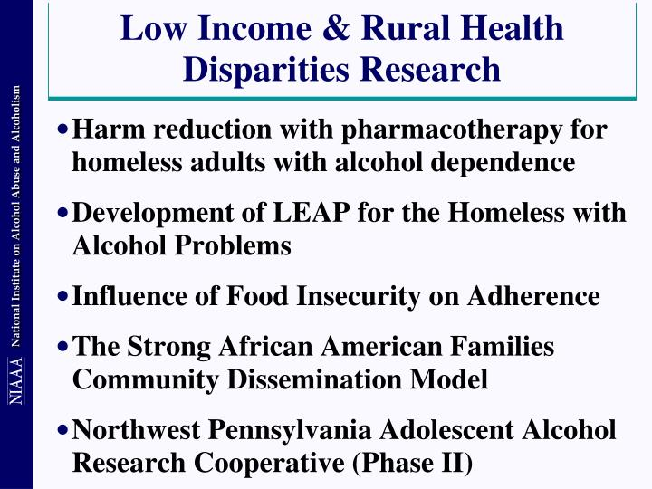 Low Income & Rural Health Disparities Research
