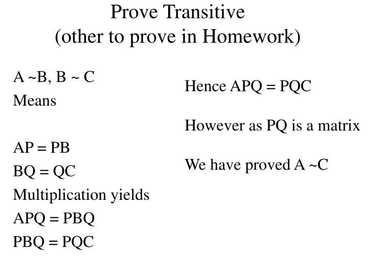 Prove Transitive