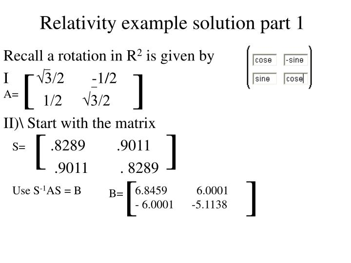 Relativity example solution part 1