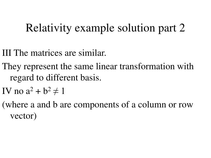 Relativity example solution part 2