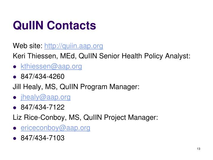 QuIIN Contacts