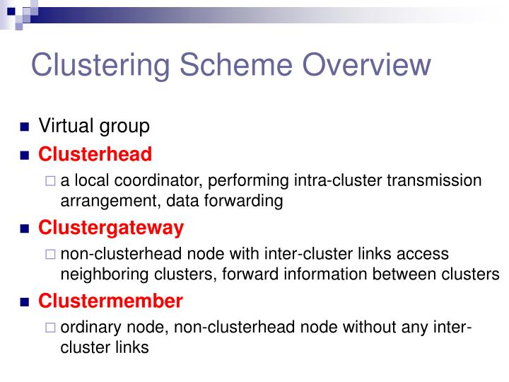 Clustering Scheme Overview