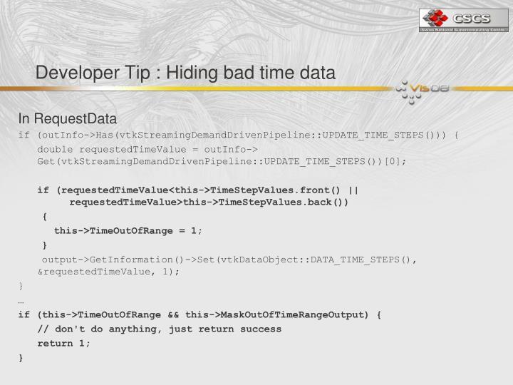 Developer Tip : Hiding bad time data