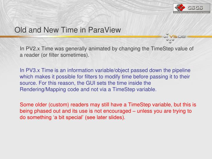 Old and New Time in ParaView