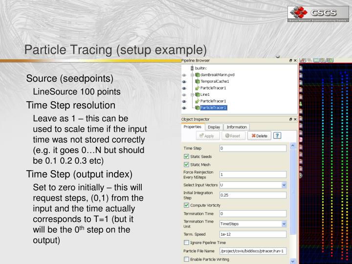 Particle Tracing (setup example)