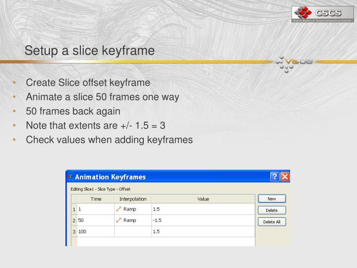 Setup a slice keyframe