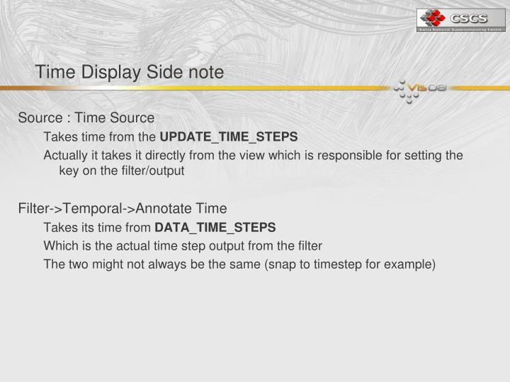 Time Display Side note