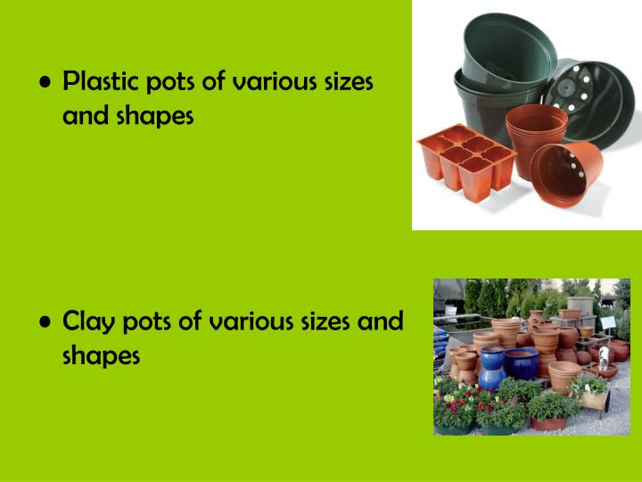 Plastic pots of various sizes and shapes
